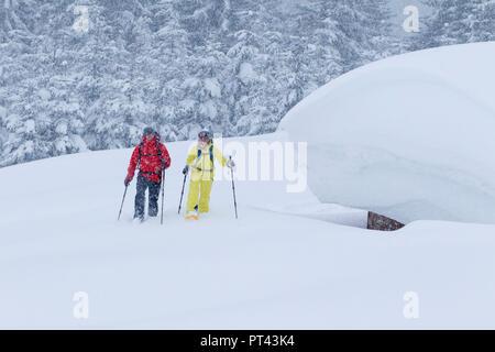 Snowshoe walker near St. Anton am Arlberg, Tyrol, Austria - Stock Photo