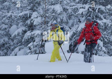 Snowshoe walker near St. Anton am Arlberg, Tyrol, Austria - Stock Photo