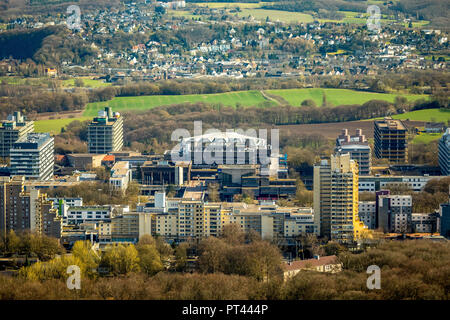 View of the Ruhr-Universität from the north with Audi-Max lecture hall in Bochum, Ruhr area, North Rhine-Westphalia, Germany - Stock Photo