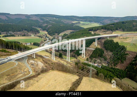 Highest bridge of North Rhine-Westphalia under construction as part of the expansion of the A46 motorway between the end of completion and Olsberg connection in the area of ??B7 federal road in Bestwig in North Rhine-Westphalia. Bestwig, Sauerland, North Rhine-Westphalia, Germany - Stock Photo