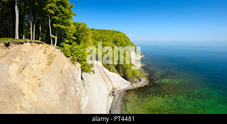 Germany, Mecklenburg-Western Pomerania, Rügen Island, Jasmund National Park, view from the high shore to the Baltic Sea and the chalk cliffs - Stock Photo