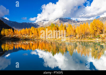 The cluds are reflected in the Lagazzuolo Lake in autumn, Malenco Valley, Valtellina, Lombardy, Italy, Europe - Stock Photo