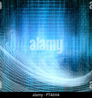 conceptual background image of binary code and abstract lights of technology - Stock Photo
