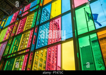 Canada, Quebec, Montreal, Palais des Congres de Montreal, convention center, colored windows - Stock Photo