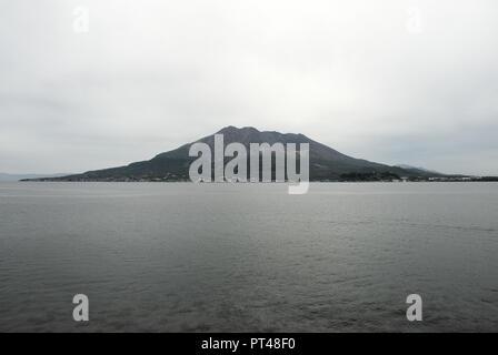 The Most Active Volcano in Japan - Sakurajima, Kagoshima Prefecture - Stock Photo