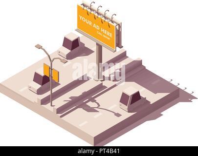 Vector isometric billboard on road - Stock Photo