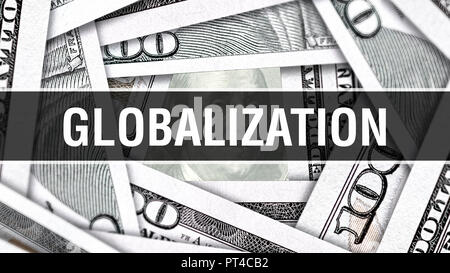 Globalization Closeup Concept. American Dollars Cash Money,3D rendering. Globalization at Dollar Banknote. Financial USA money banknote Commercial mon - Stock Photo