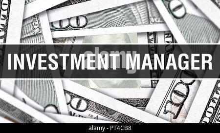 Investment Manager Closeup Concept. American Dollars Cash Money,3D rendering. Investment Manager at Dollar Banknote. Financial USA money banknote Comm - Stock Photo