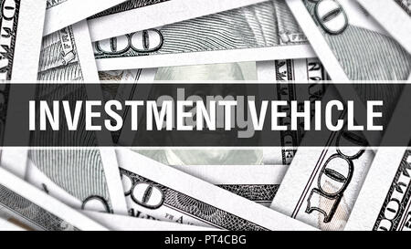 Investment Vehicle Closeup Concept. American Dollars Cash Money,3D rendering. Investment Vehicle at Dollar Banknote. Financial USA money banknote Comm - Stock Photo