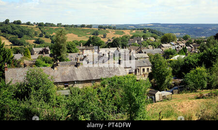 View over Winster Village rooftops to Derbyshire Dales - Stock Photo