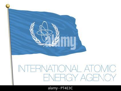 IAEA, International Atomic Energy Agency organization flag, United Nations, New York, USA - Stock Photo