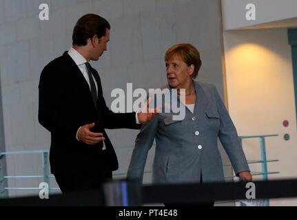 Sebastian Kurz, Angela Merkel - Treffen der dt. Bundeskasnzlerin mit ihrem oesterreichischen Amtskollegen, Bundeskanzleramt, 16. September 2018, Berli - Stock Photo