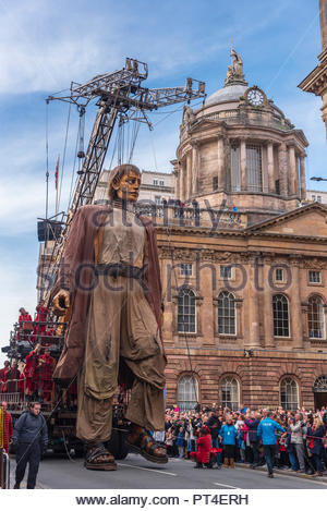 Liverpool City Centre. United KIngdom.  6th  October. 2018. Liverpool's Dream event. The Giant strolls through Liverpool City Centre and nods to the m - Stock Photo
