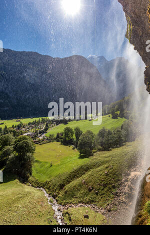 Staubbach Falls, Lauterbrunnen, Interlaken-Oberhasli, Canton of Bern, Switzerland - Stock Photo