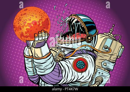 Astronaut monster eats Mars. Greed and hunger of mankind concept. Pop art retro vector illustration vintage kitsch - Stock Photo