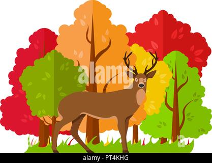 Vector autumn landscape. Deer in the autumn forest. - Stock Photo