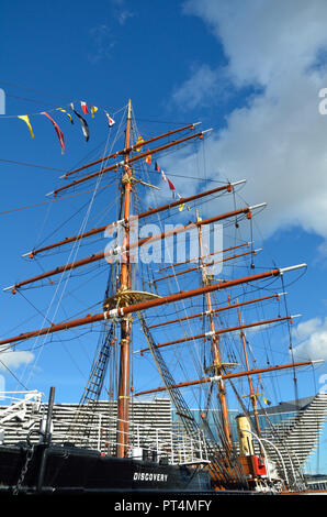 RRS Discovery; 1901 built in Dundee; Captain Scott; Sir Clement Markham; President of the Royal Geographical Society; Antarctic Expedition; Scotland;  - Stock Photo