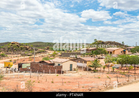 Cabaceiras, Paraíba, Brazil - February, 2018: Dry Landscape view at Northeast of Brazil, and is known as Roliúde Nordestina, a Brazilian Hollywood. - Stock Photo