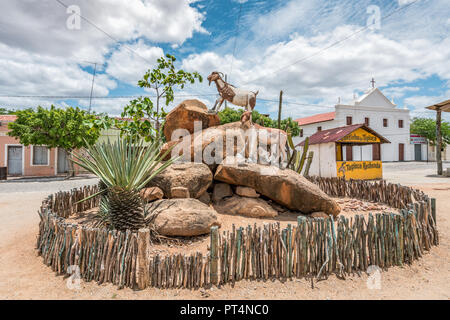 Cabaceiras, Paraíba, Brazil - February, 2018: town square view at Northeast of Brazil, and is known as Roliúde Nordestina, a Brazilian Hollywood. - Stock Photo