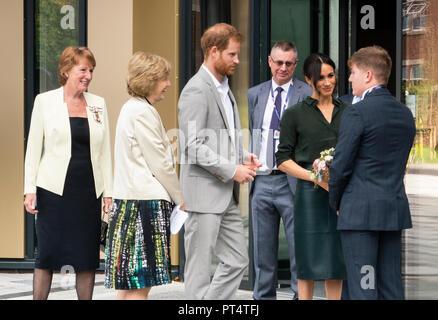 Bognor Regis, West Sussex / UK - 3rd October 2018: Their Royal Highnesses the Duke & Duchess of Sussex open the University (Chichester) Tech Park. - Stock Photo