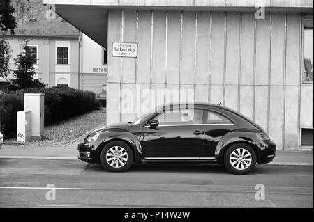 BUDAPEST, HUNGARY - 22 SEPTEMBER: VW New Beetle in the street of Budapest on September 22, 2018. - Stock Photo