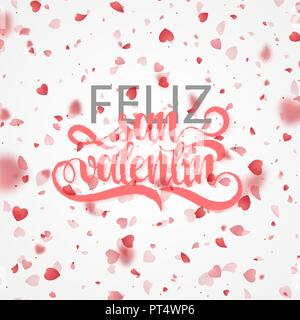 Happy valentines day. Phrase Spanish handmade. Feliz san valentin. Bright red hearts flying in the form of petals on a white background. Festive banner and poster. Celebration pink texture - Stock Photo