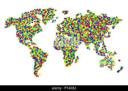 A collage of a map of the world made of thousands of clorful hearts - Stock Photo
