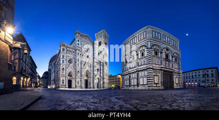 Florence at dusk. Panoramic view of Cathedral of Santa Maria del Fiore, Italy - Stock Photo