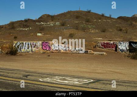 Danby, California, USA. 5th Sep, 2018. Graffiti covers one of several building shells in the Mojave Desert off Route 66 near Danby, California. Credit: L.E. Baskow/ZUMA Wire/Alamy Live News - Stock Photo