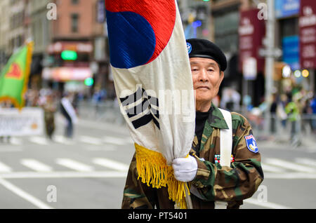 New York City, USA. 6th October 2018. Korean Day Parade on 6th Avenue between 34th Street to 27th Street in Manhattan. Credit: Ryan Rahman/Alamy Live News - Stock Photo