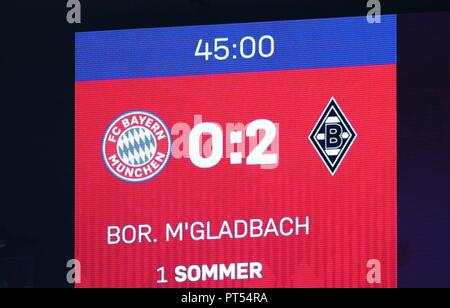 firo: 06.10.2018 Fuvuball, Football: 1.Bundesliga Bayern Munich - Borussia Mv? nchengladbach, scoreboard, halftime, general, depositor | usage worldwide - Stock Photo