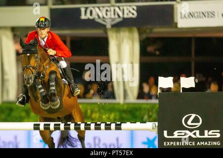 Barcelona, Spain. 6th October 2018. Winner Team. Marcus Ehning. GER, Riding Comme Il Faut 5. Challenge Cup. Longines FEI Jumping Nations Cup Final. Showjumping. Barcelona. Spain. Day 2.06/10/2018. Credit: Sport In Pictures/Alamy Live News - Stock Photo