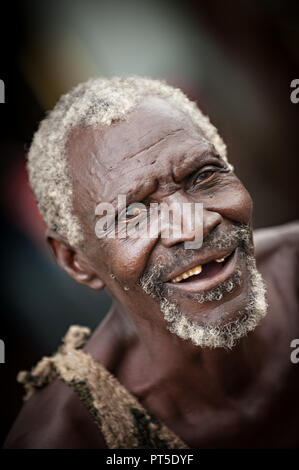 Portrait of an elderly white haired local african from Zambia - Stock Photo