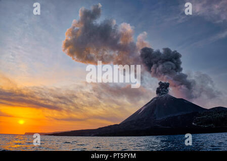 The Krakatoa (kra-kuh-tow-uh) island is situated in the Sunda Strait, between Java and Sumatra, and forms a part of the Indonesian Island Arc. The Kra - Stock Photo