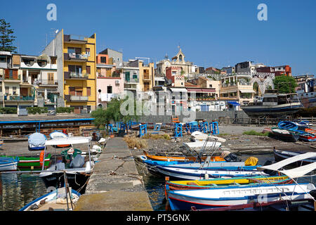 Harbour of fishing village Aci Trezza, comune of Aci Castello, Catania, Sicily, Italy - Stock Photo
