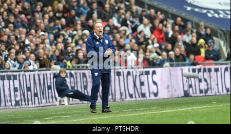 Cardiffs Manager  Neil Warnock during the Premier League match between Tottenham Hotspur and Cardiff City at Wembley Stadium , London , 06 October 2018 Editorial use only. No merchandising. For Football images FA and Premier League restrictions apply inc. no internet/mobile usage without FAPL license - for details contact Football Dataco - Stock Photo