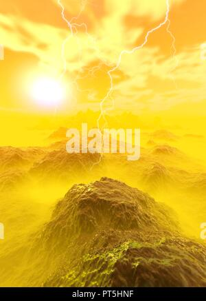 Rocky planet surface and lightning, illustration. - Stock Photo