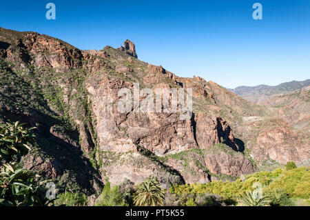 Mountainous landscape in the interior of the Gran Canaria Island, Canary Islands, Spain. Photo taken from de town of Tejeda - Stock Photo