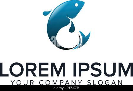 fish logo. design concept template - Stock Photo