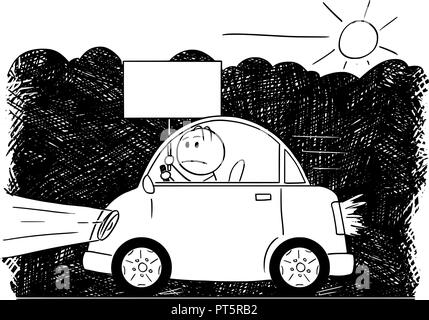 Cartoon Drawing of Car Driving Through Smog and Man Holding Empty Sign - Stock Photo
