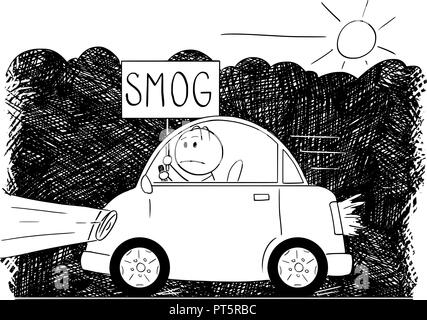 Cartoon Drawing of Car Driving Through Smog and Man Holding Sign - Stock Photo