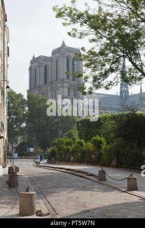 View of the Notre-Dame de Paris from the Rue Saint-Julien le Pauvre, France. - Stock Photo