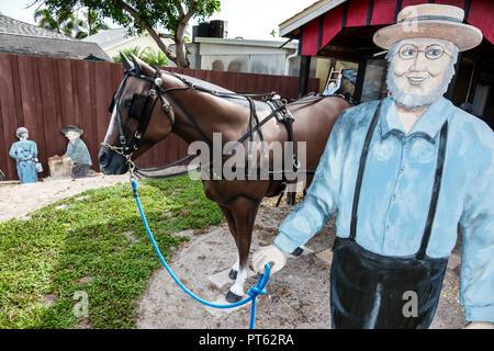 Sarasota Florida Pinecraft Pine Craft Amish community humor humour life-size cutout man horse buggy - Stock Photo