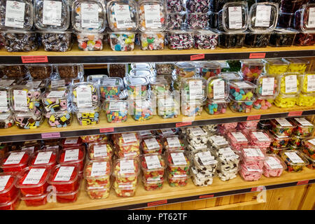 Sarasota Florida Pinecraft Pine Craft Amish community Yoder's Fresh Market shopping food candy clear plastic containers organized display sale - Stock Photo