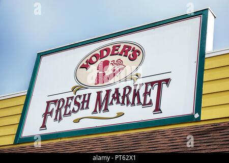 Sarasota Florida Pinecraft Pine Craft Amish community Yoder's Fresh Market shopping food sign - Stock Photo