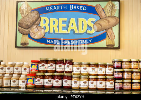 Sarasota Florida Pinecraft Pine Craft Amish community Yoder's Fresh Market shopping food sign hearth baked breads bread made fresh daily apple almond - Stock Photo
