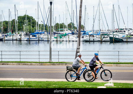St. Saint Petersburg Florida man friend riding bicycles bikes safety helmets South Yacht Basin Tampa Bay Albert Whitted Park - Stock Photo