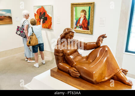 St. Saint Petersburg Florida Museum of Fine Arts interior Albert Wein artist New Horizons 1937 cherry wood senior woman friends - Stock Photo
