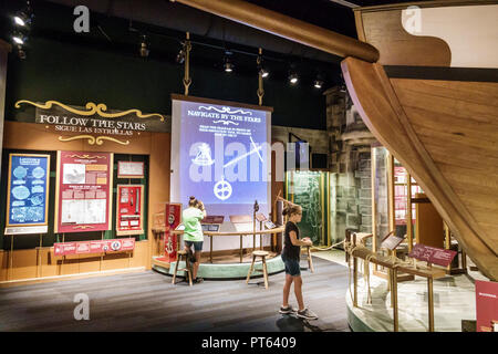 Tampa Florida Tampa Bay History Center centre inside collection exhibits girl looking - Stock Photo