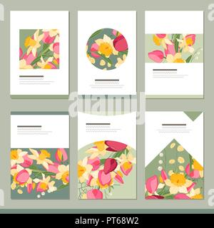 set with six floral romantic templates roses and herbs stock vector